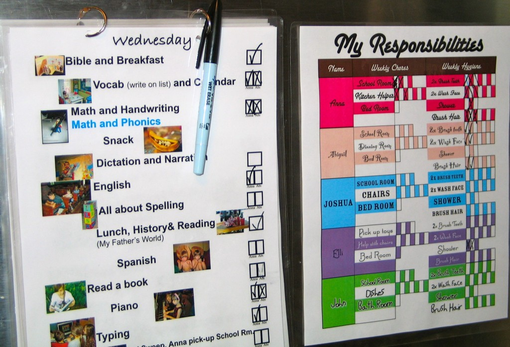 Pictorial-Reusable School, Chore and Hygiene Schedule